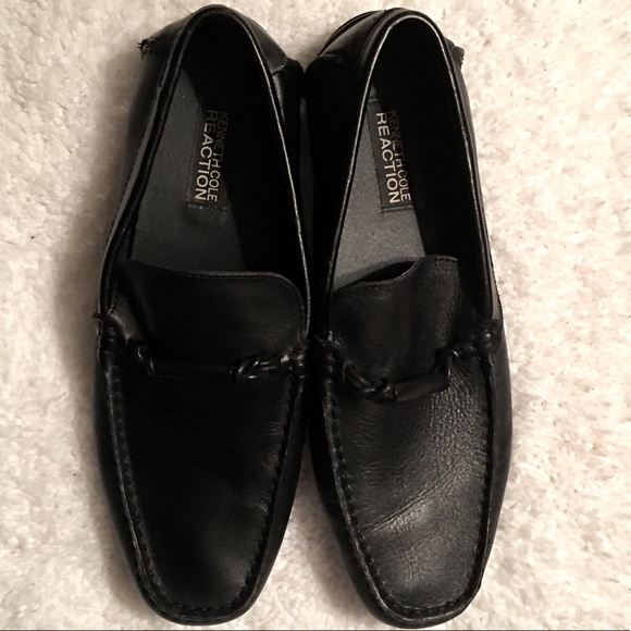 Men Black Kenneth Cole Leather Loafers size 10